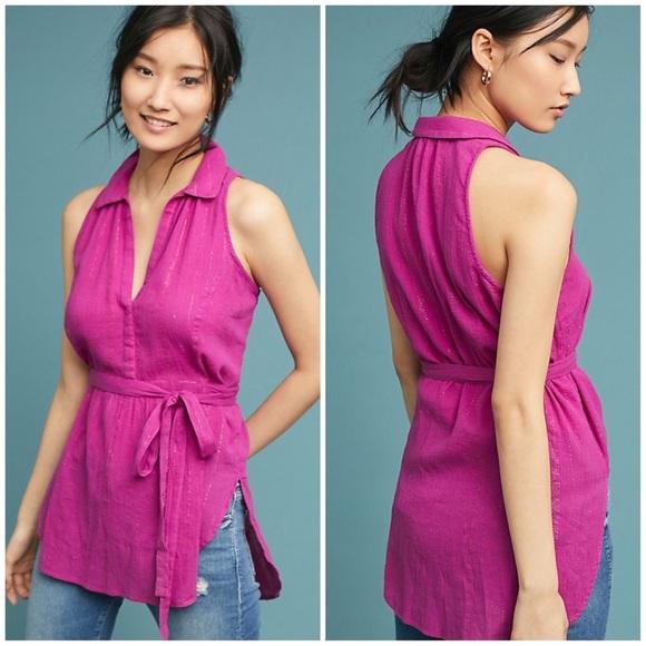 Anthropologie Maeve Batavia Sleeveless Tunic Top Medium Fuchsia Pink Blouse New
